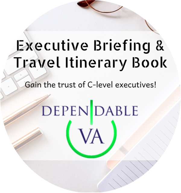 Executive Briefing and Travel Itinerary Book Widget Circle